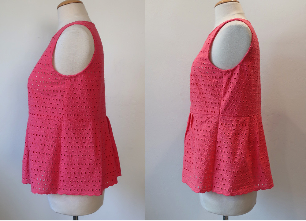 Coral eyelet top side view