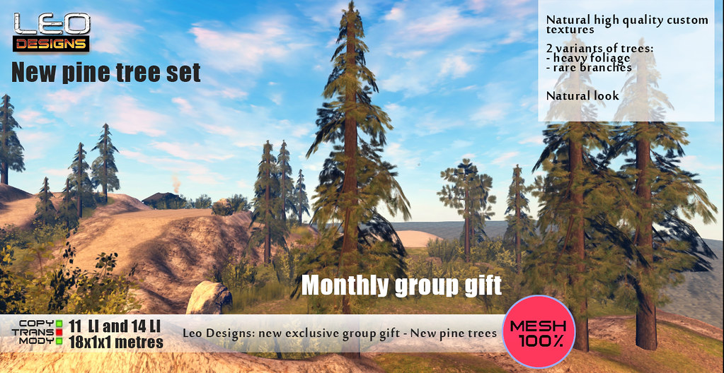 Leo Designs: New exclusive group gift- New pine tree set