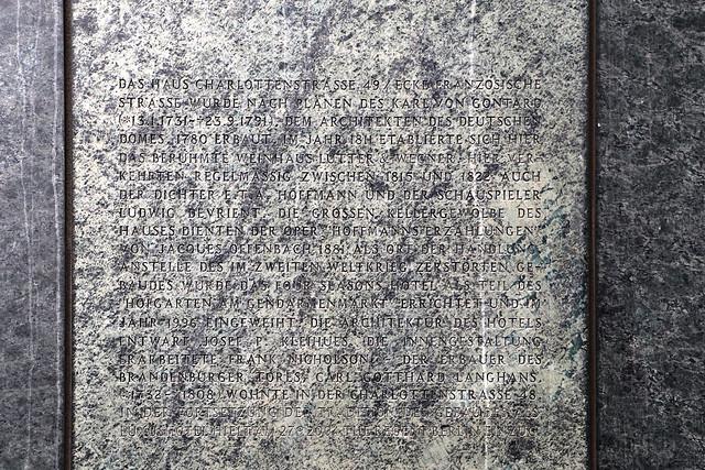 Gedenkstein für Lutter & Wegner