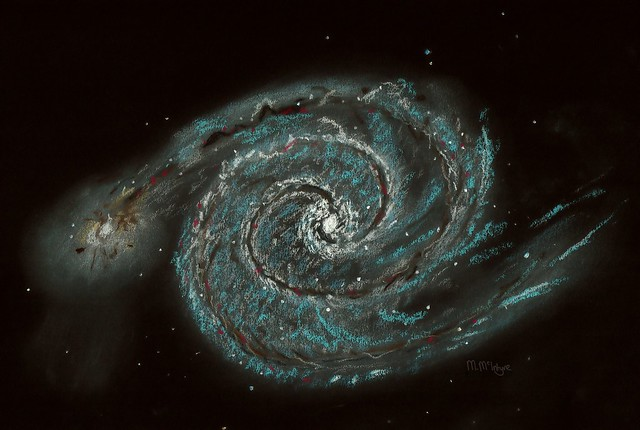 Messier 51 the Whirlpool Galaxy Pastel Sketch