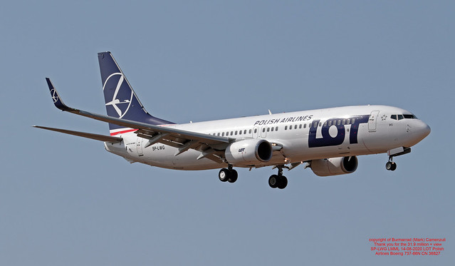 SP-LWG LMML 14-08-2020 LOT Polish Airlines Boeing 737-86N CN 36827