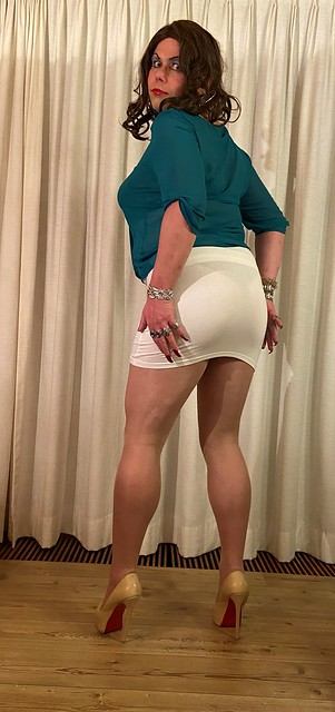 the sheer cyan top, white skirt - red soles option back view