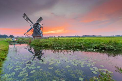 sunset windmill groningen landscape sky