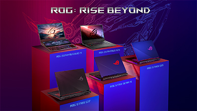The two-screen ROG Zephyrus Duo 15 (top left) headlines ASUS' full family refresh, with up to NVIDIA GeForce RTX SUPER graphics, 300 Hz displays and best-in-class thermals.