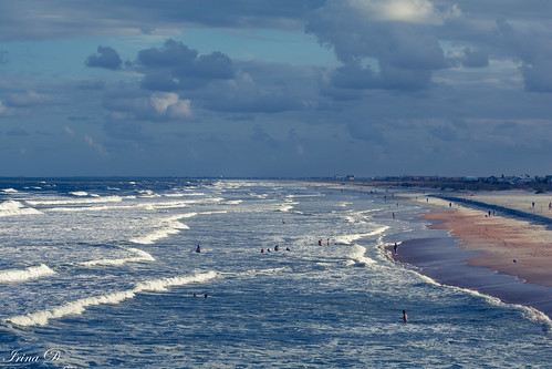beach ocean atlantic water waves panorama sand people sky clouds blue white outside landscape seascape saintaugustine light nature beautiful beauty art digital canon horizon outstandingromanianphotographers