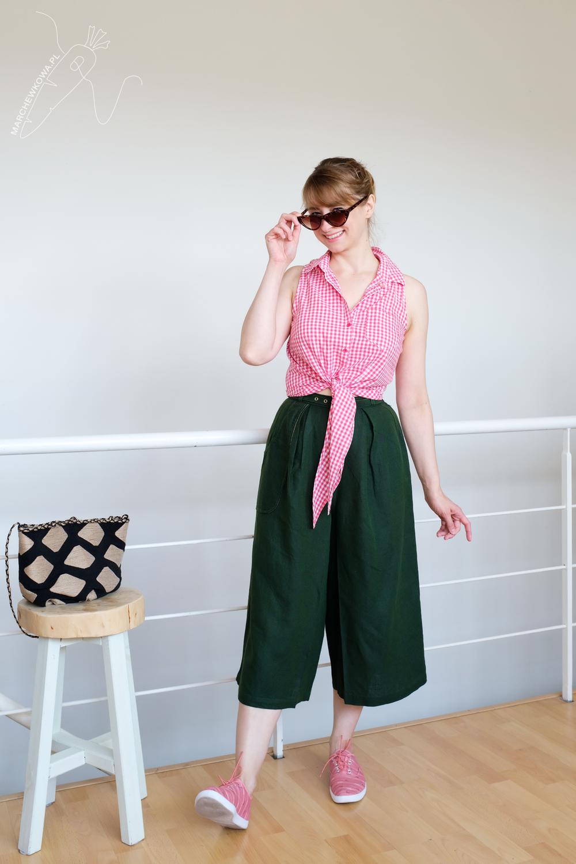 blog, marchewkowa, szycie, Wrocław, spódnico-spodnie, len, retro, vintage, 1960s, culotte, Burda pattern, sewing