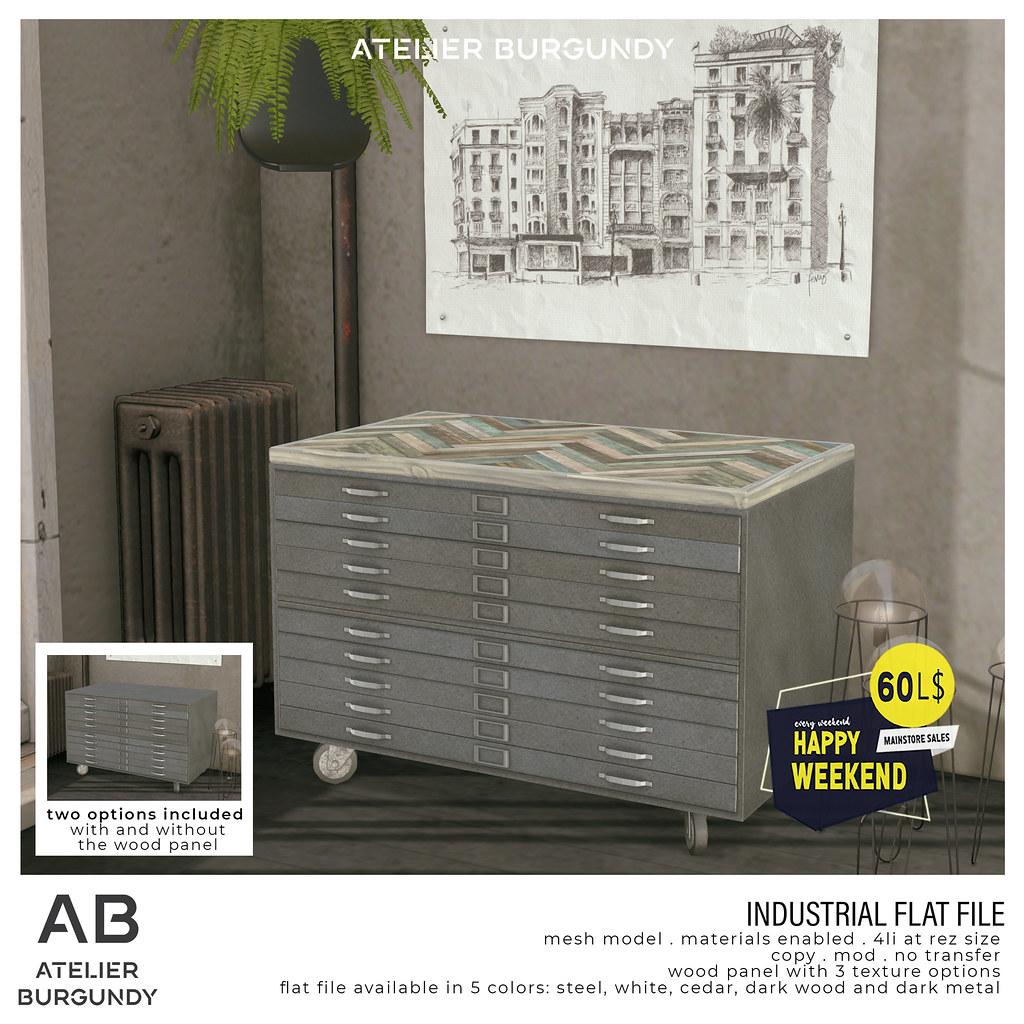 Atelier Burgundy . Industrial Flat File HW