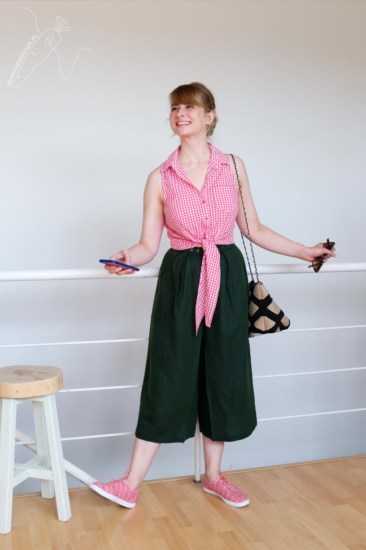 blog, marchewkowa, szycie, Wrocław, spódnico-spodnie, len, retro, vintage, 1960s, culotte, Burda pattern, handmade, linen