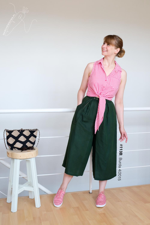 blog, marchewkowa, szycie, Wrocław, spódnico-spodnie, len, retro, vintage, 1950s, culotte, Burda pattern, sewing