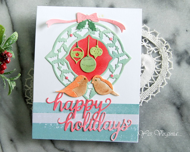 happy holiday (Holly Frame Gala Etched Dies )