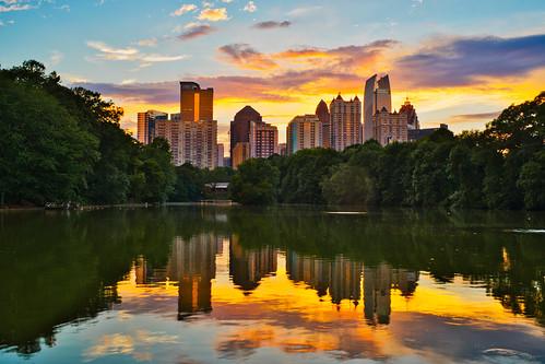 atlanta georgia piedmont park reflection sunset midtown takumar 35mm