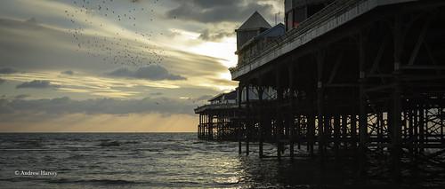 blackpool fyldecoast pier lancashire sunset water sea seaside outside light coast