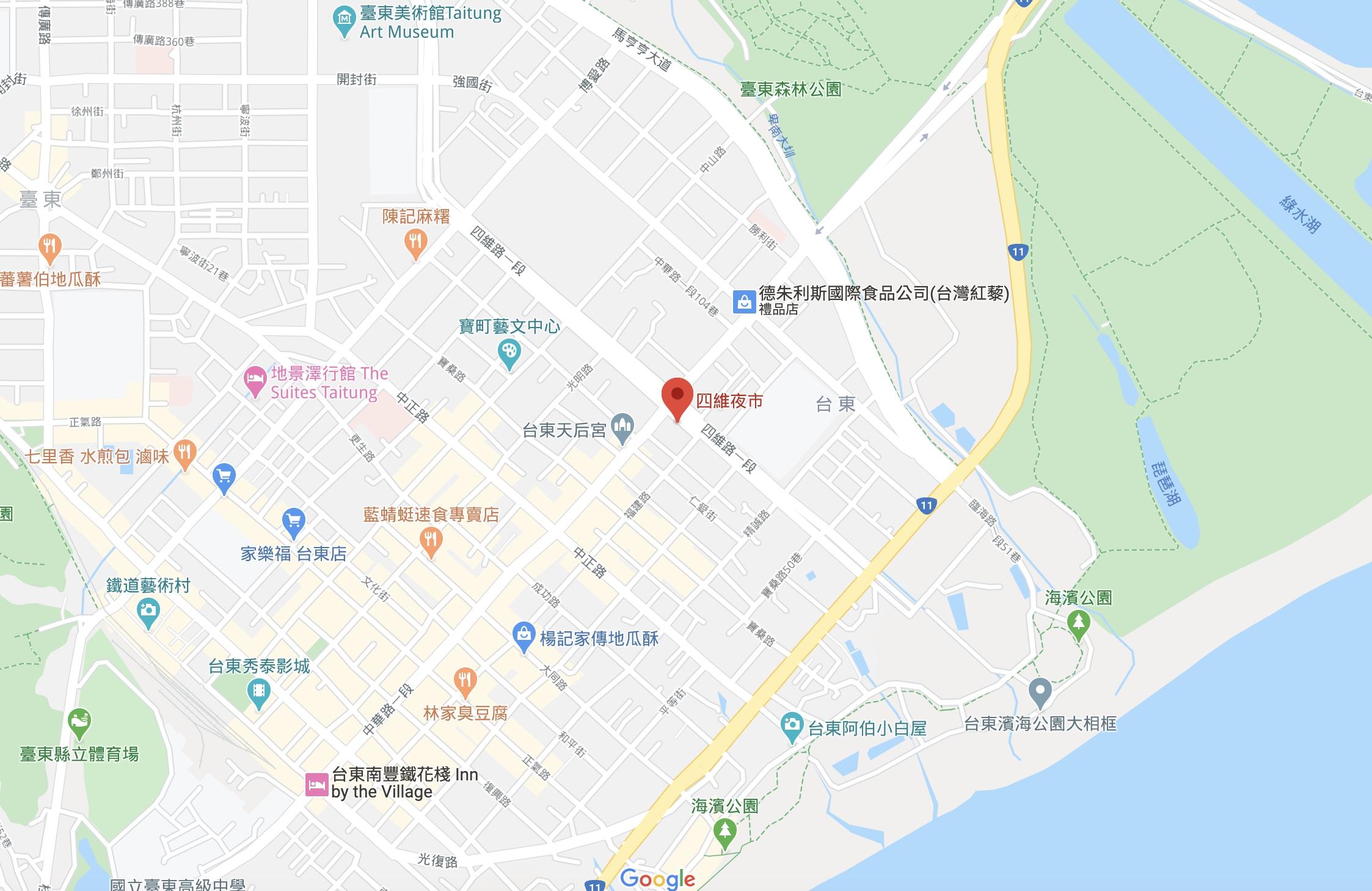 台東四維夜市地圖