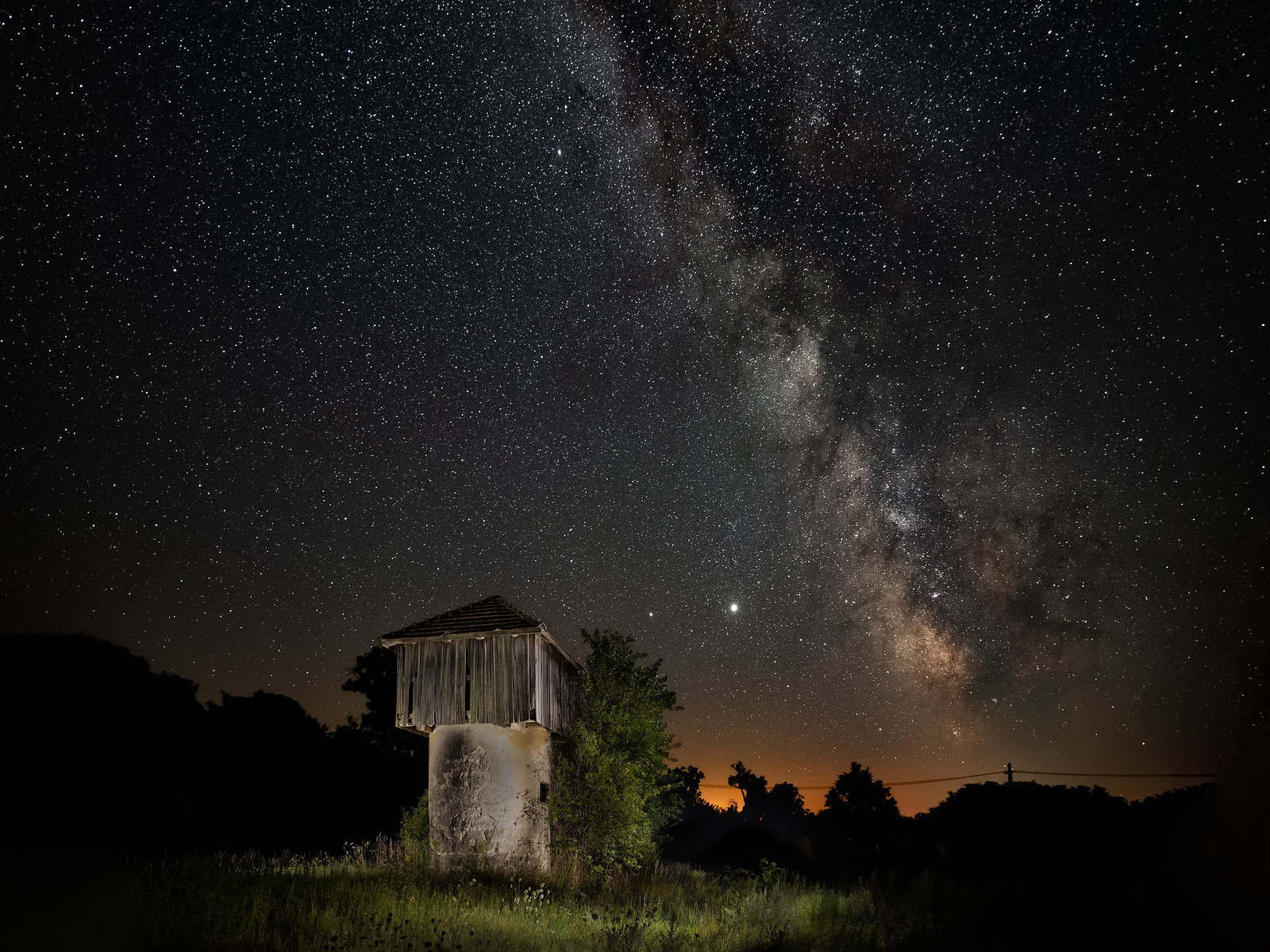 Old silo and the Milky Way