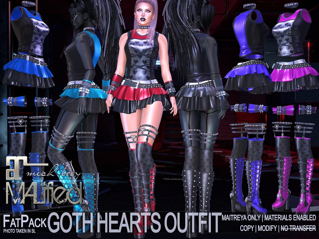 MALified – Goth Hearts Outfits – FatPack