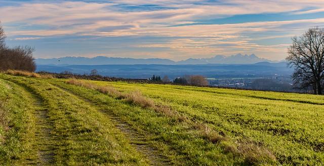 Föhnstimmung mit Blick auf die Alpen, Ottenberg, Tettenweis, Bayern
