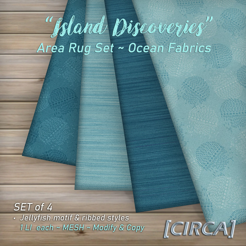 "SSS Event Item | [CIRCA] – ""Island Discoveries"" – Area Rug Set – Ocean Fabrics"