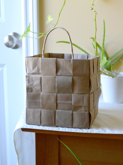 Basket from Recycled Brown Paper