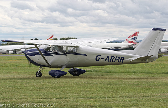 G-ARMR - 1961 build Cessna 172B Skyhawk, taxiing for departure at Kemble