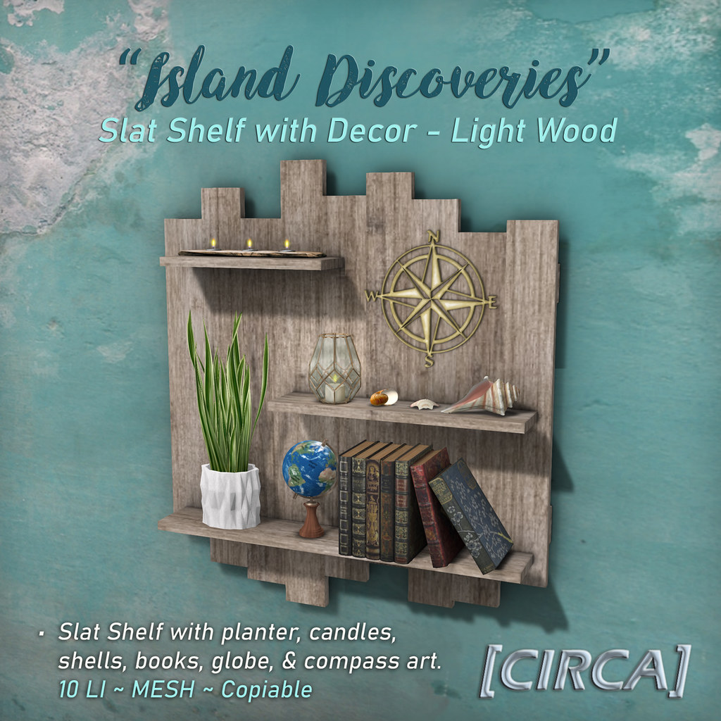 "SSS Event Item | [CIRCA] – ""Island Discoveries"" – Slat Shelf with Decor – Light Wood ad"