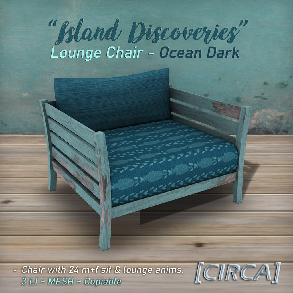 "SSS Event Item | [CIRCA] – ""Island Discoveries"" – Lounge Chair – Ocean Dark"