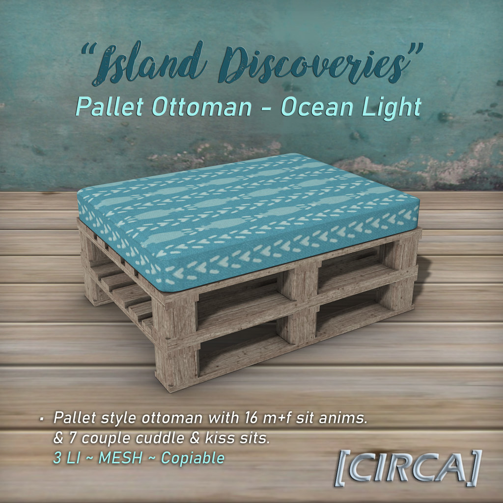 "SSS Event Item | [CIRCA] – ""Island Discoveries"" – Pallet Ottoman – Ocean Light"