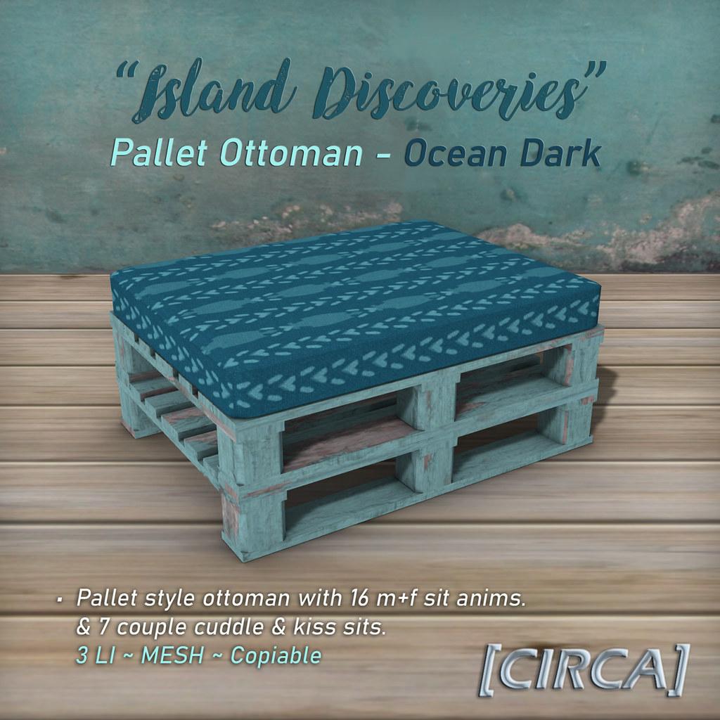 "SSS Event Item | [CIRCA] – ""Island Discoveries"" – Pallet Ottoman – Ocean Dark"