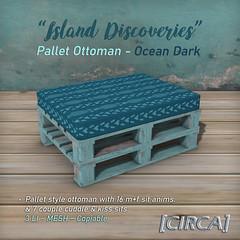 "SSS Event Item | [CIRCA] - ""Island Discoveries"" - Pallet Ottoman - Ocean Dark"