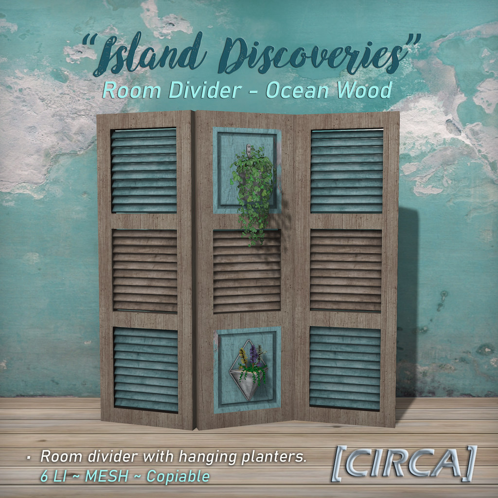 "SSS Event Item | [CIRCA] – ""Island Discoveries"" – Room Divider – Ocean Wood"