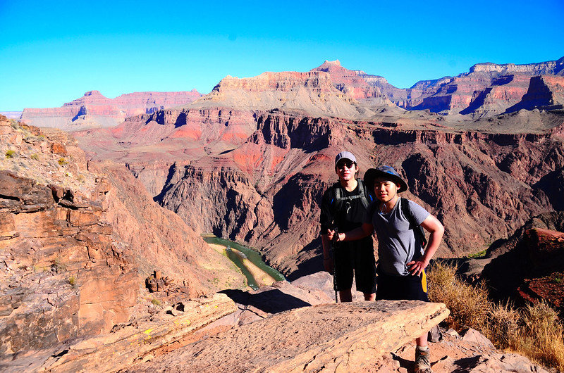 Matthew & Jacob on the South Kaibab Trail with Colorado River in the background 1