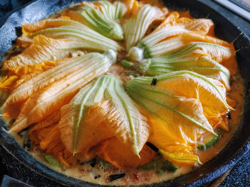 Squash Blossom Frittata before going in the oven