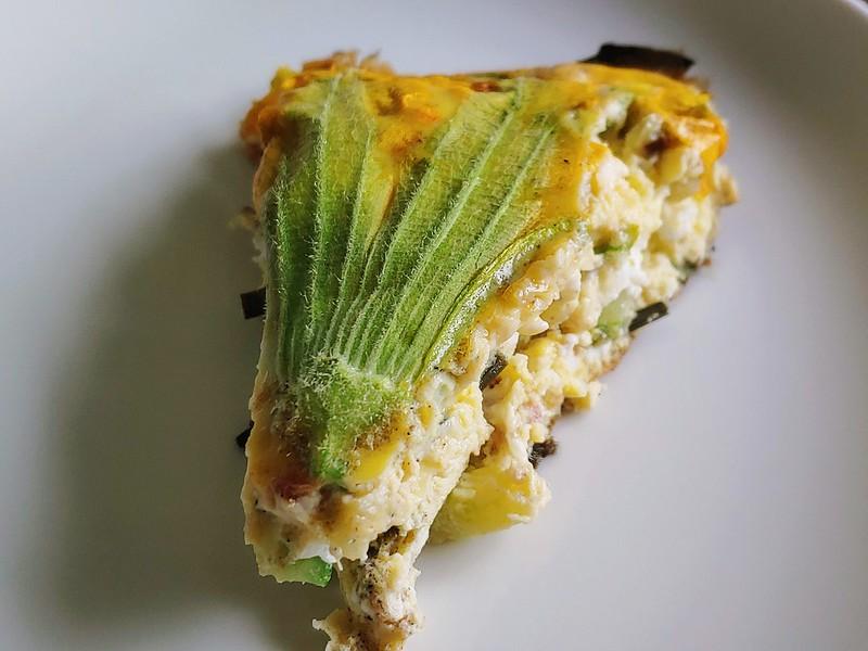 A Slice of Squash Blossom Frittata