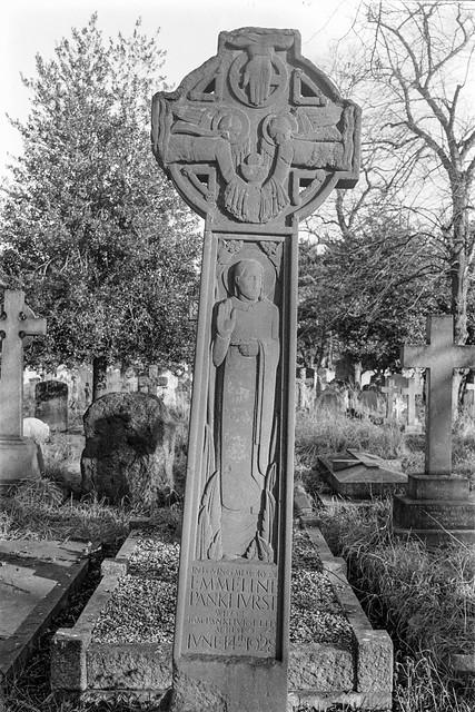 Emmeline Pankhurst, memorial, Brompton Cemetery, West Brompton, Kensington & Chelsea, 1987 87-12b-24-positive_2400