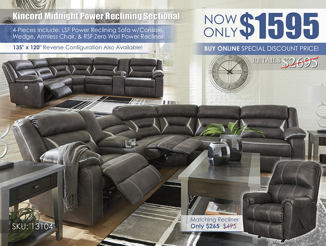 Kincord Midnight Power Reclining Sectional Online Special_13104