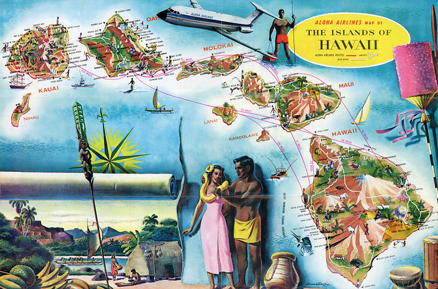 1966 Aloha Airlines Route Map