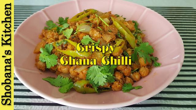Spicy & Crispy Chana Chilli Recipe / சில்லி சென்னா / Spicy Chickpea Snack / Shobanas Kitchen