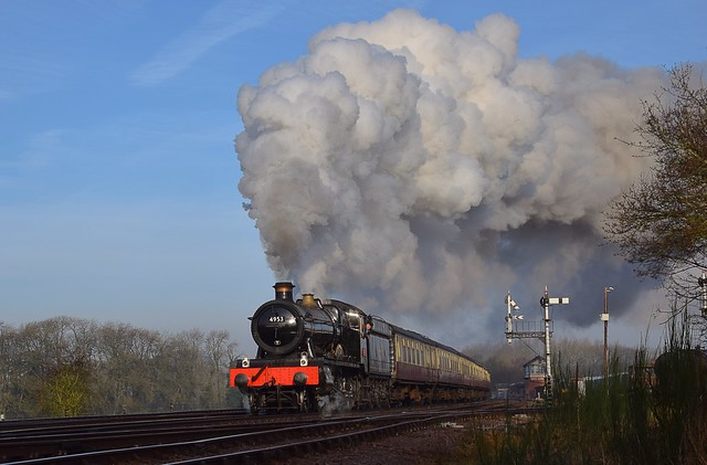 Locomotive No.4953 'Pitchford Hall' passing through Swithland, with the Blood & Custard rake of carriages. Great Central Railway. 05 02 2020