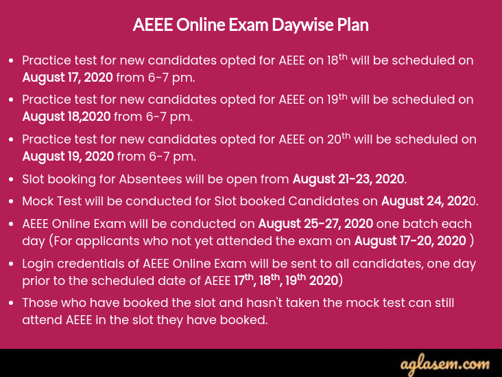 AEEE 2020 Remote Proctored Exam Details