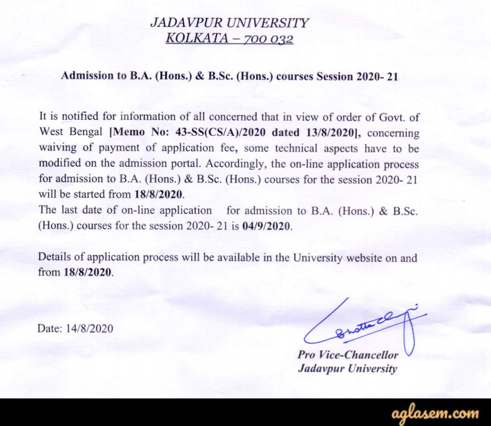 Jadavpur University B.Sc Admission 2020 Application Form Revised Date Notice