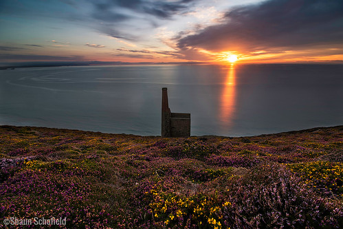 coast sunset cornwall landscape mine wheal coates