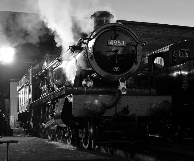 Locomotive No.4953 'Pitchford Hall' about to leave the shed, after early morning preparation. Great Central Railway. 05 02 2020