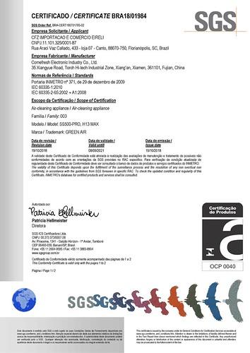 Certificado INMETRO para Purificador de Ar Green Air SS500-PRO