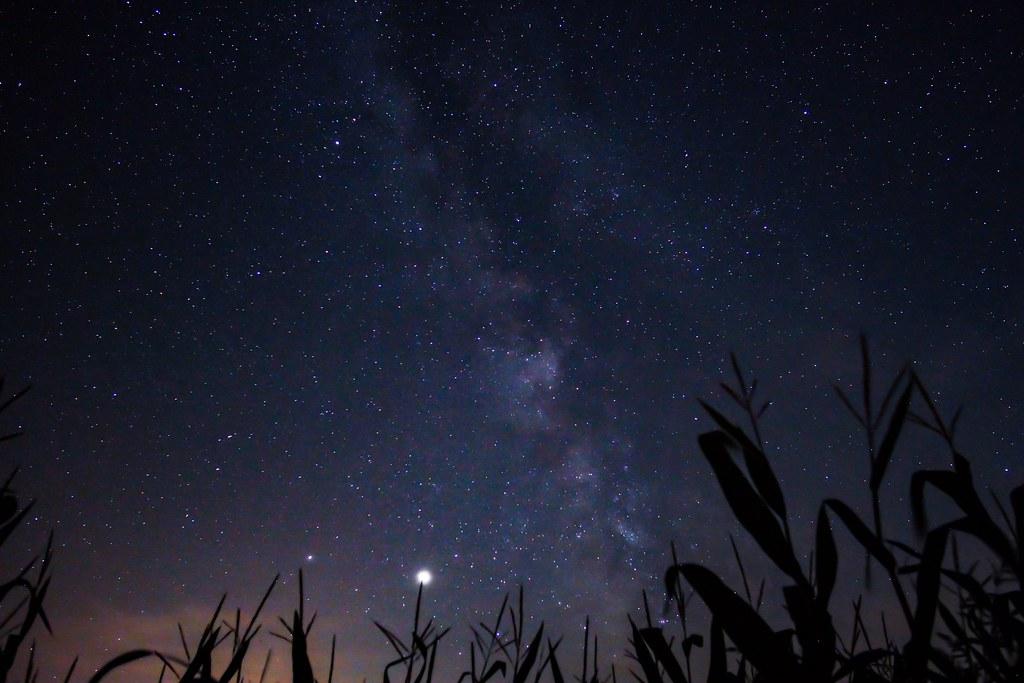 Milky war galaxy over pyhra. Also Jupiter and Saturn .