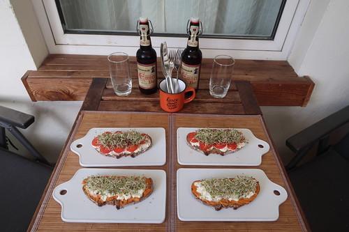 Abendbrot mit Alfalfasprossen