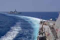 USS Mustin (DDG 89) sails alongside JS Suzutsuki (DD 117) in the East China Sea, Aug. 16. (U.S. Navy/MC3 Cody Beam)