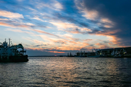 hokkaido japan kushiro sunset landscape seascape river sky boat fishing
