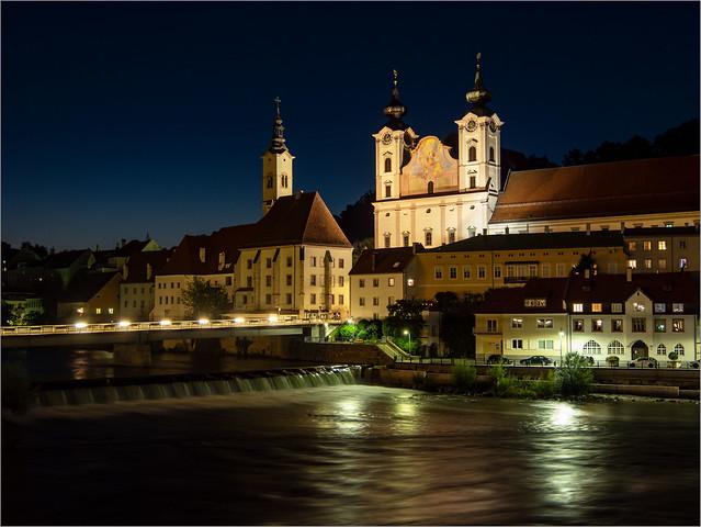 Blaue Stunde in Steyr, Österreich