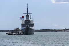 The Republic of Singapore Navy frigate RSS Supreme (73) arrives at Joint Base Pearl Harbor-Hickam for a logistics stop ahead of RIMPAC 2020. (U.S. Navy/MC1 Nate Laird)
