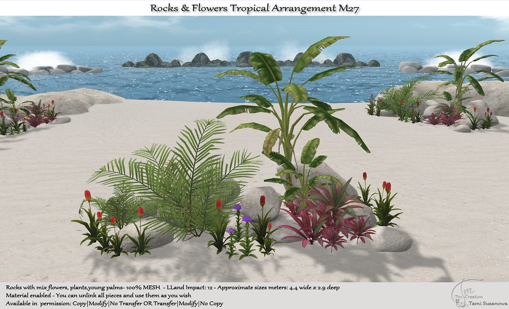 .:Tm:.Creation Tropical Flowers Rocks Arrangement M27