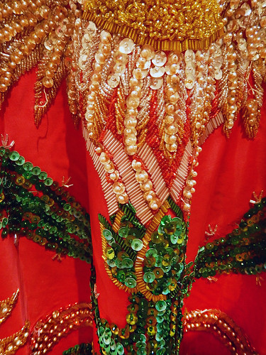 Detail of the red and green sequinned China Poblana skirt, the colours of the Mexican flag